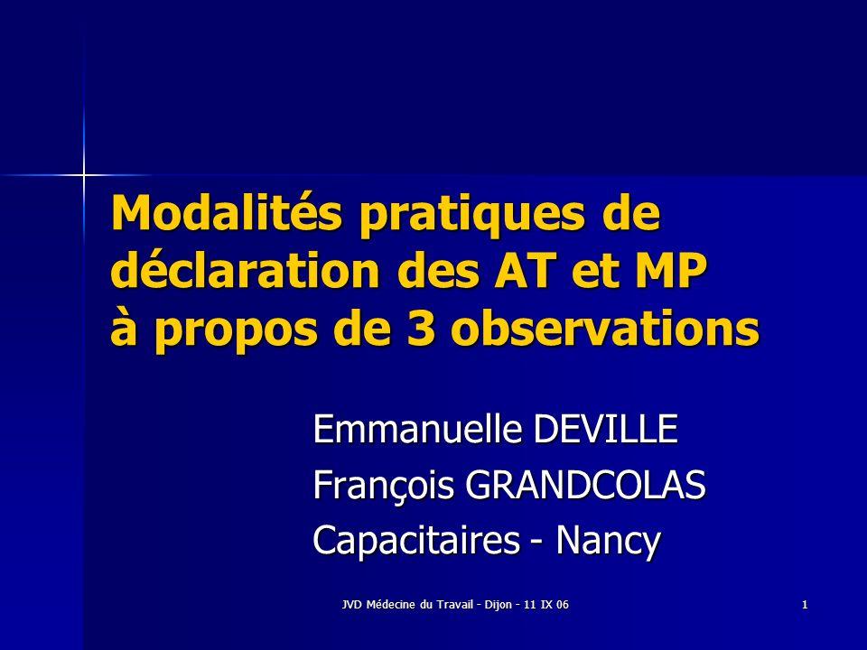 Emmanuelle DEVILLE François GRANDCOLAS Capacitaires - Nancy