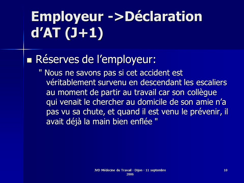 Employeur ->Déclaration d'AT (J+1)