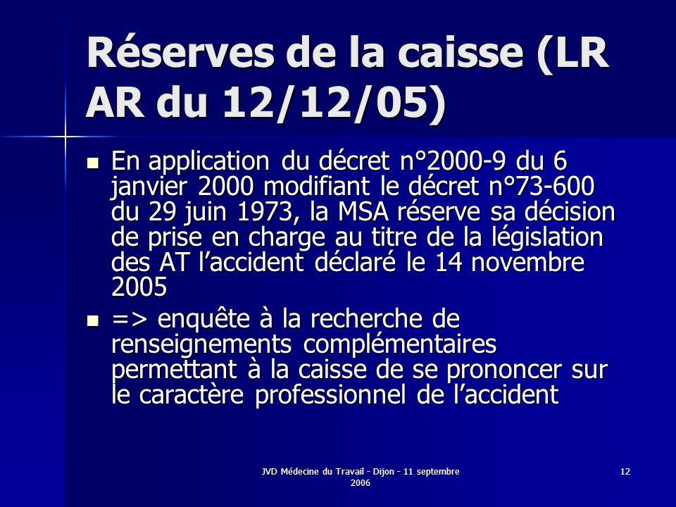 Réserves de la caisse (LR AR du 12/12/05)
