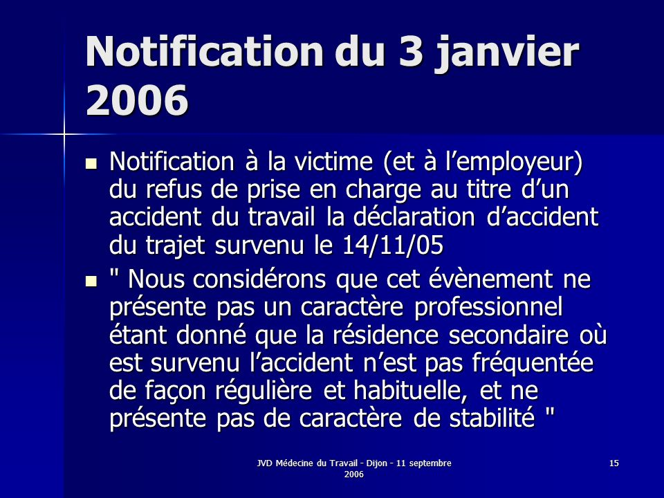Notification du 3 janvier 2006
