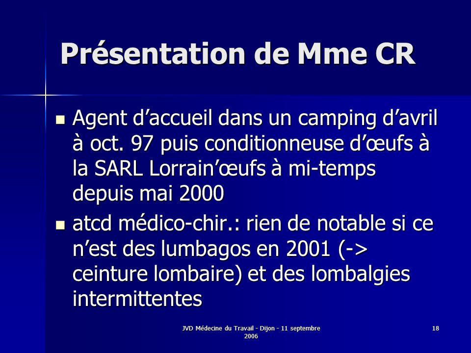JVD Médecine du Travail - Dijon - 11 septembre 2006