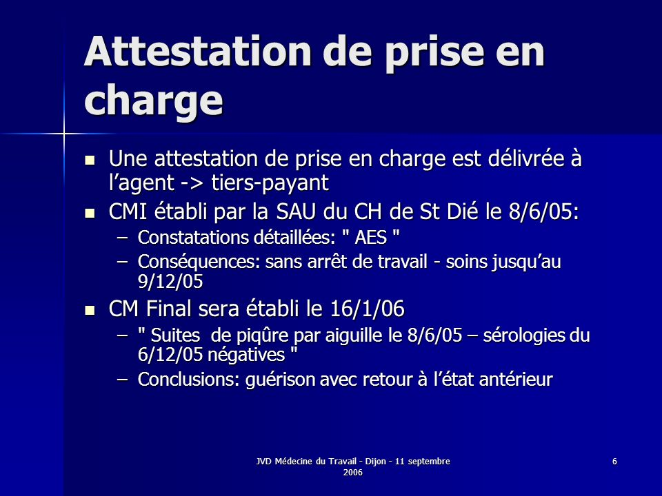 Attestation de prise en charge