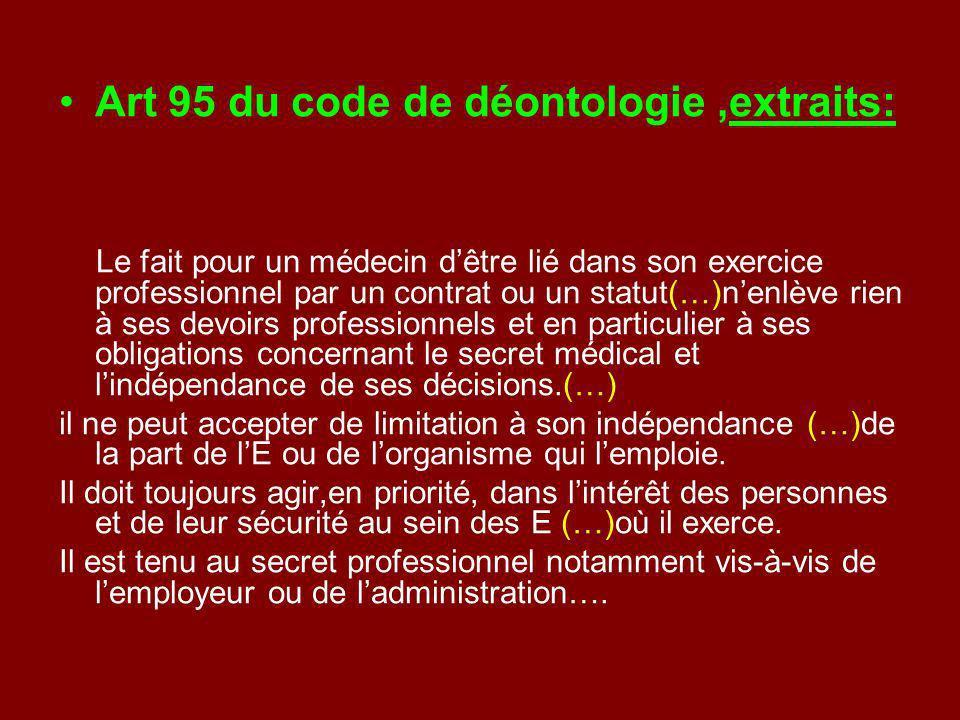 Art 95 du code de déontologie ,extraits: