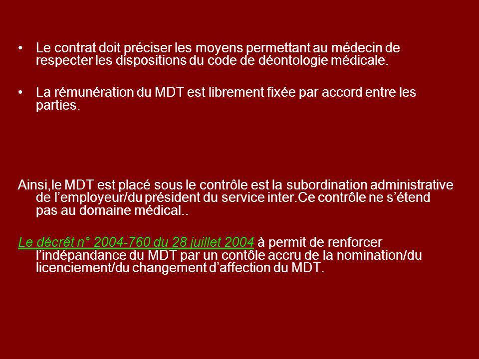 Le contrat doit préciser les moyens permettant au médecin de respecter les dispositions du code de déontologie médicale.