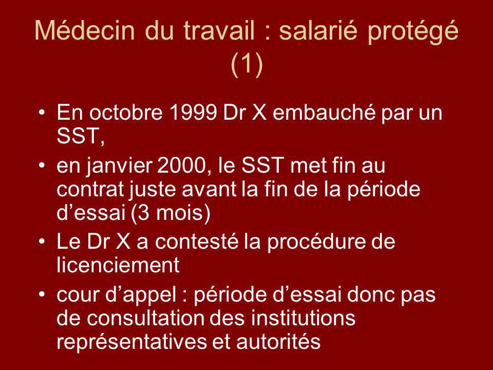 Médecin du travail : salarié protégé (1)