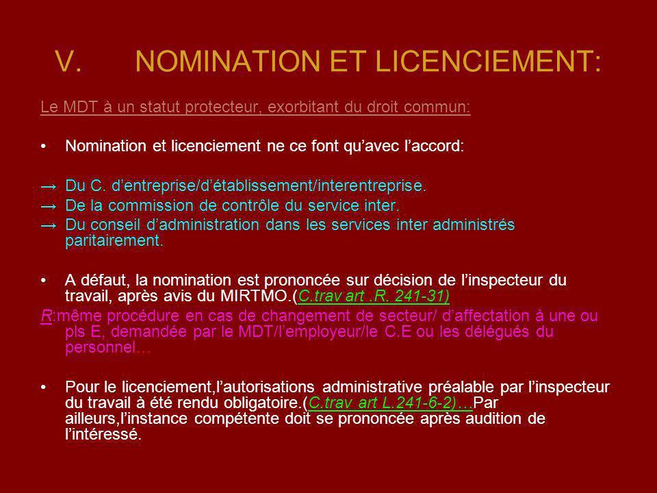 NOMINATION ET LICENCIEMENT: