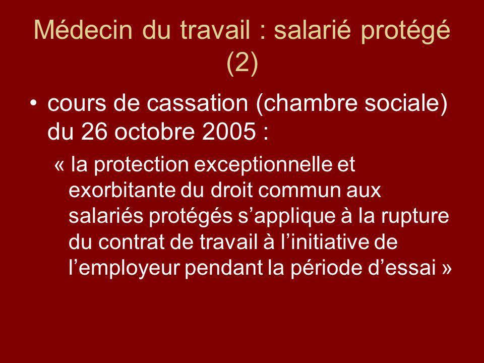 Médecin du travail : salarié protégé (2)