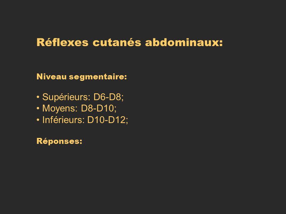Réflexes cutanés abdominaux: