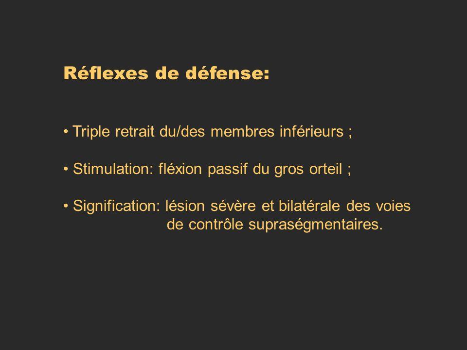 Réflexes de défense: Triple retrait du/des membres inférieurs ;