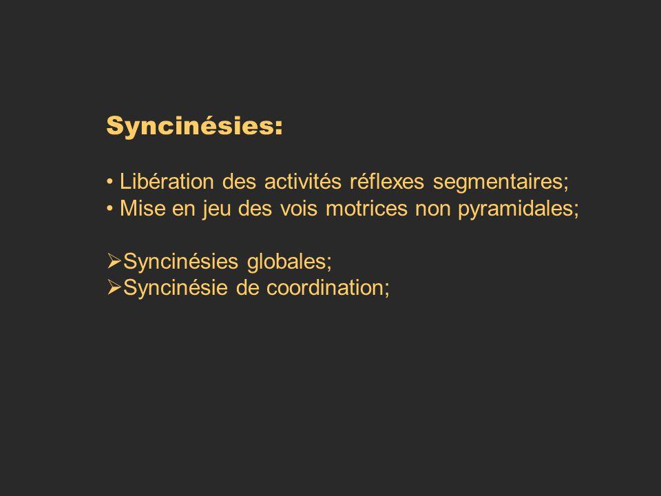 Syncinésies: Libération des activités réflexes segmentaires;
