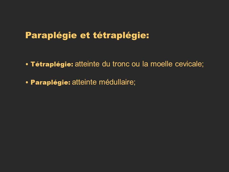 Paraplégie et tétraplégie: