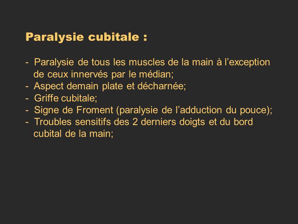 Paralysie cubitale : - Paralysie de tous les muscles de la main à l'exception. de ceux innervés par le médian;