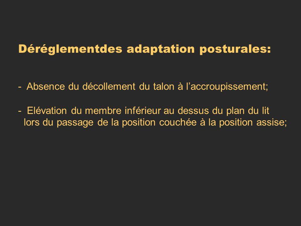 Déréglementdes adaptation posturales: