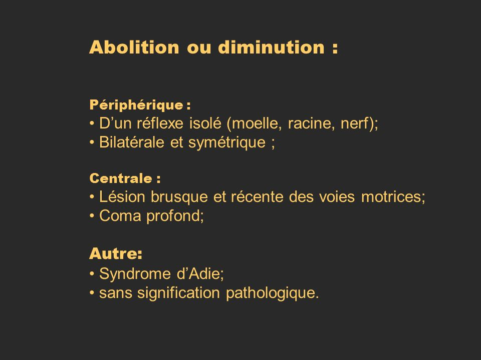 Abolition ou diminution :