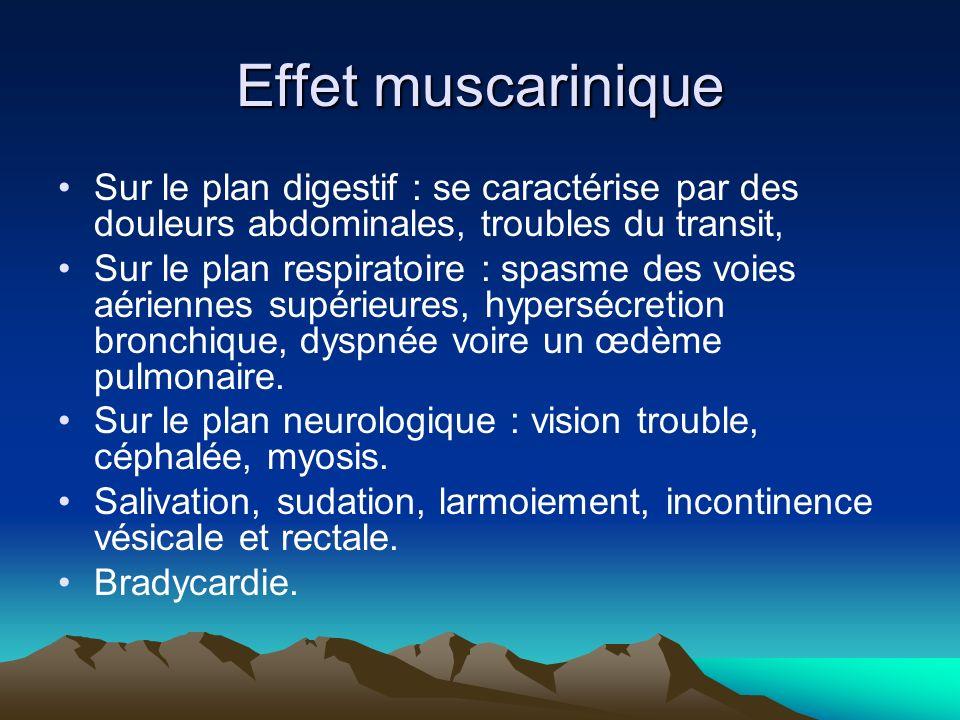 Effet muscarinique Sur le plan digestif : se caractérise par des douleurs abdominales, troubles du transit,