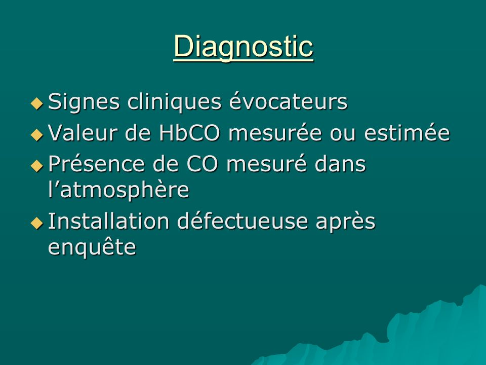 Diagnostic Signes cliniques évocateurs