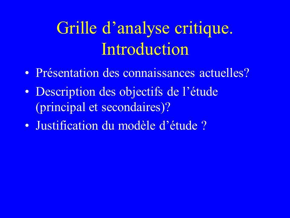 Grille d'analyse critique. Introduction