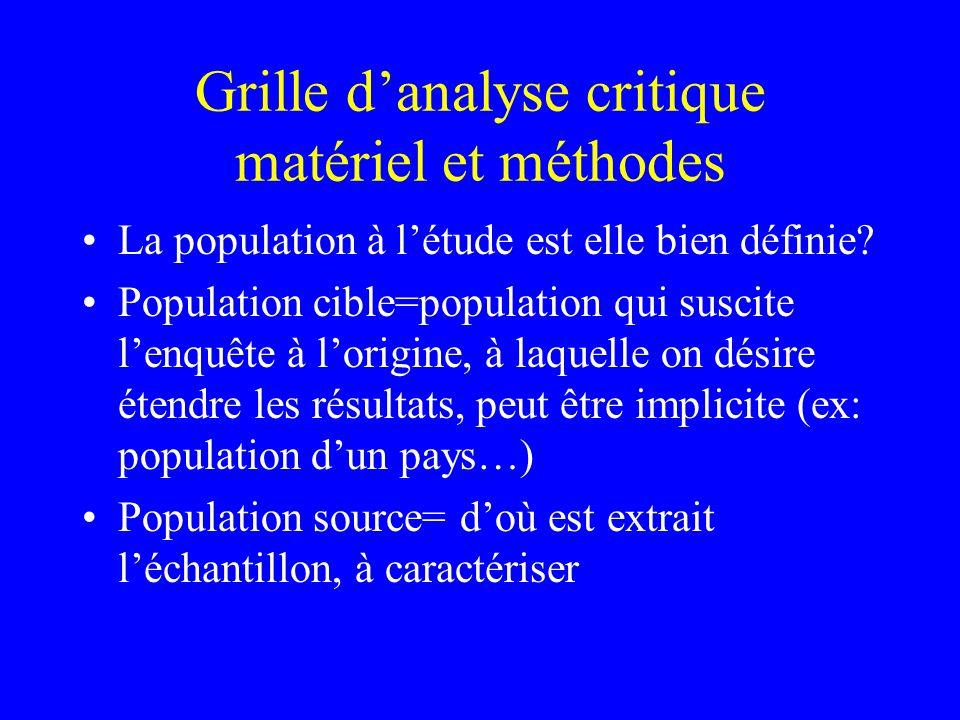 Grille d'analyse critique matériel et méthodes