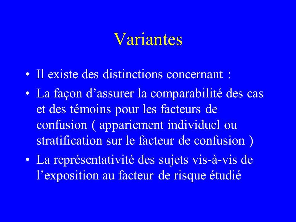 Variantes Il existe des distinctions concernant :