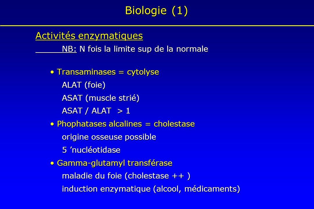 Biologie (1) Activités enzymatiques