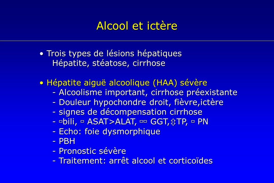 Alcool et ictère Trois types de lésions hépatiques