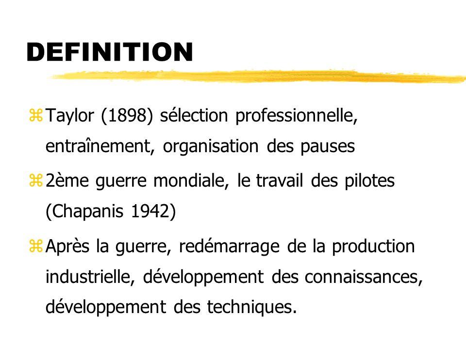DEFINITION Taylor (1898) sélection professionnelle, entraînement, organisation des pauses.