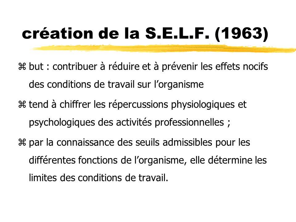 création de la S.E.L.F. (1963) but : contribuer à réduire et à prévenir les effets nocifs des conditions de travail sur l'organisme.