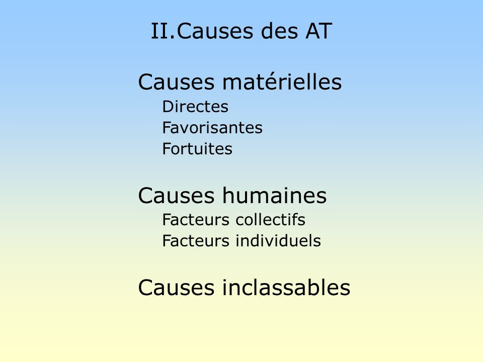 II.Causes des AT Causes matérielles Causes humaines