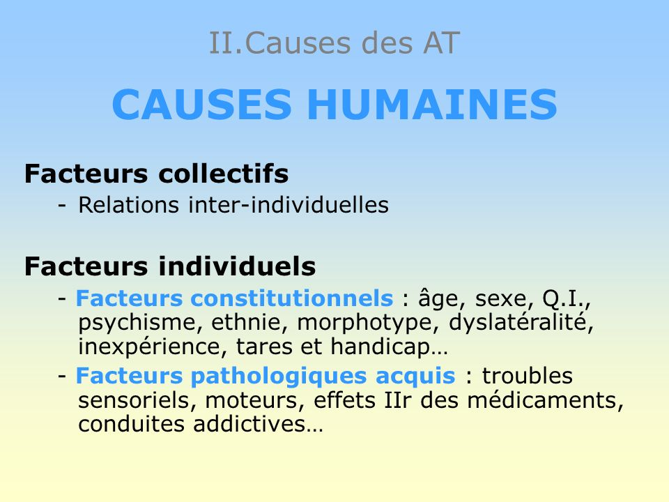 CAUSES HUMAINES II.Causes des AT Facteurs collectifs