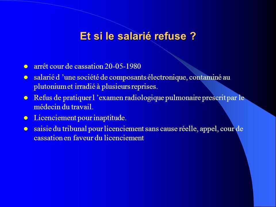 Et si le salarié refuse arrêt cour de cassation 20-05-1980