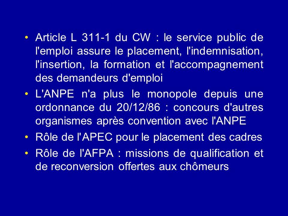 Article L 311-1 du CW : le service public de l emploi assure le placement, l indemnisation, l insertion, la formation et l accompagnement des demandeurs d emploi