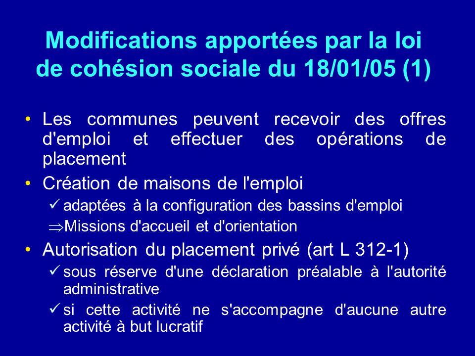 Modifications apportées par la loi de cohésion sociale du 18/01/05 (1)