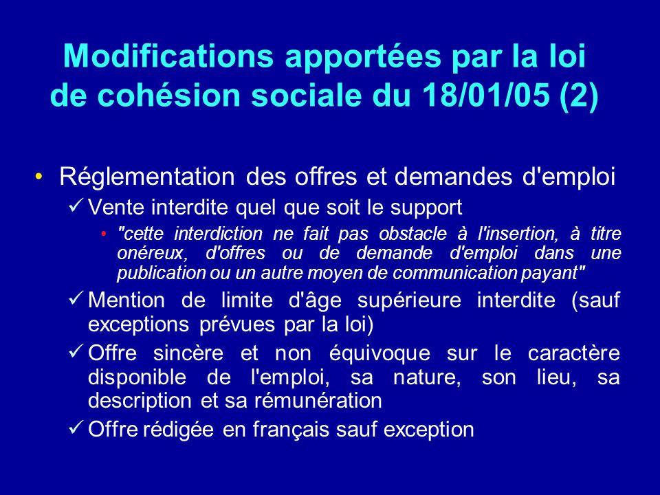 Modifications apportées par la loi de cohésion sociale du 18/01/05 (2)