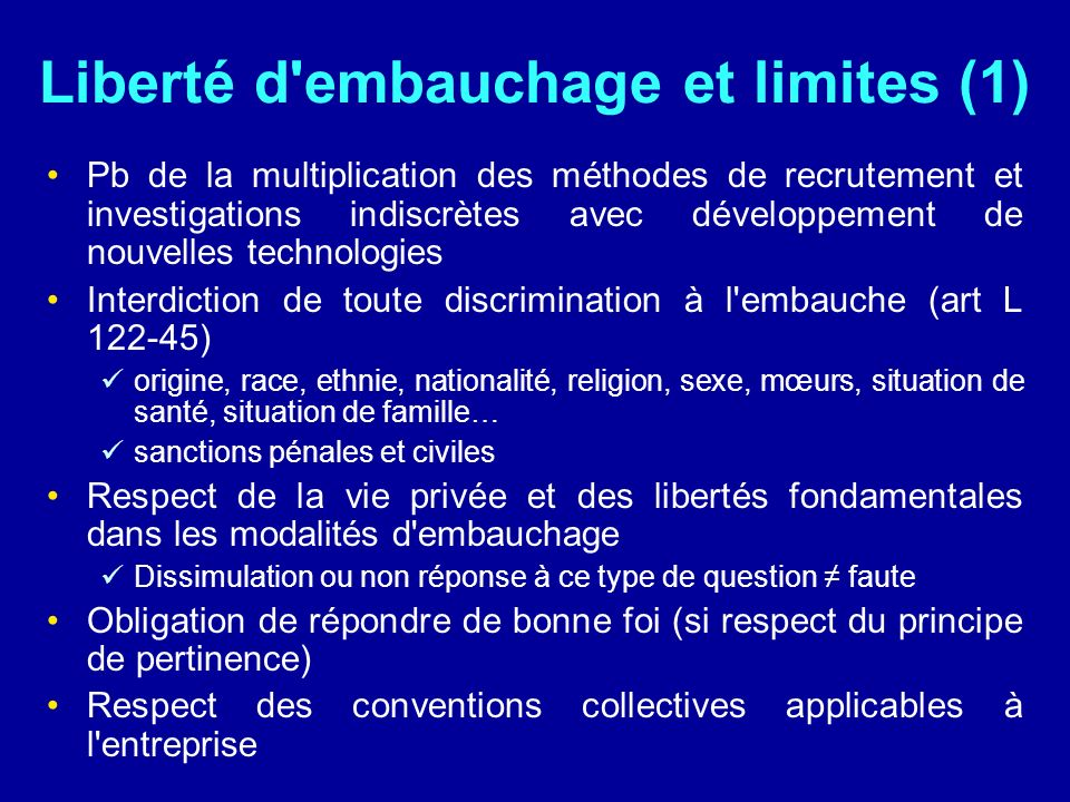 Liberté d embauchage et limites (1)