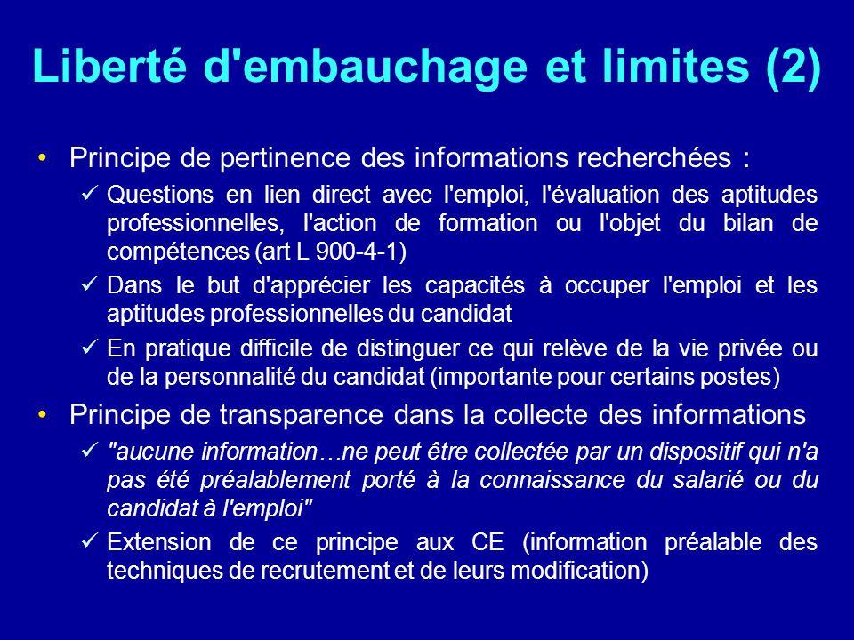 Liberté d embauchage et limites (2)