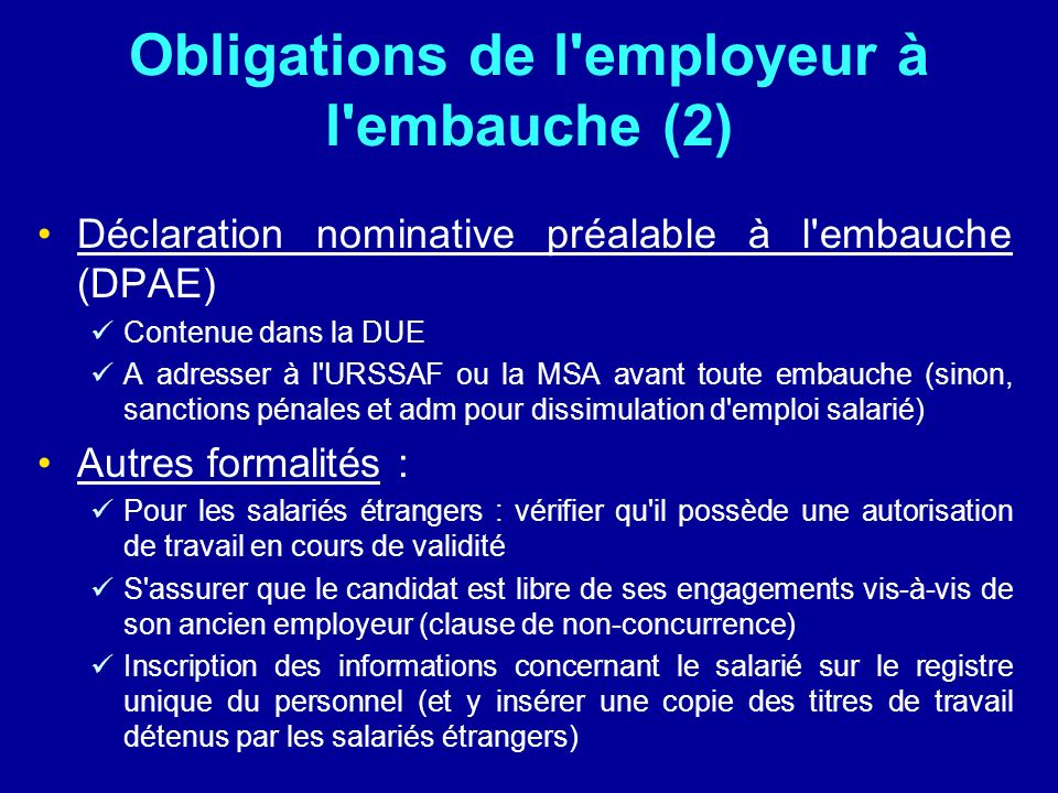 Obligations de l employeur à l embauche (2)