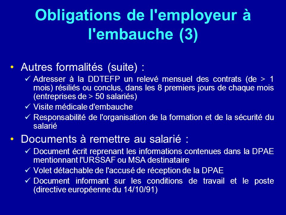 Obligations de l employeur à l embauche (3)