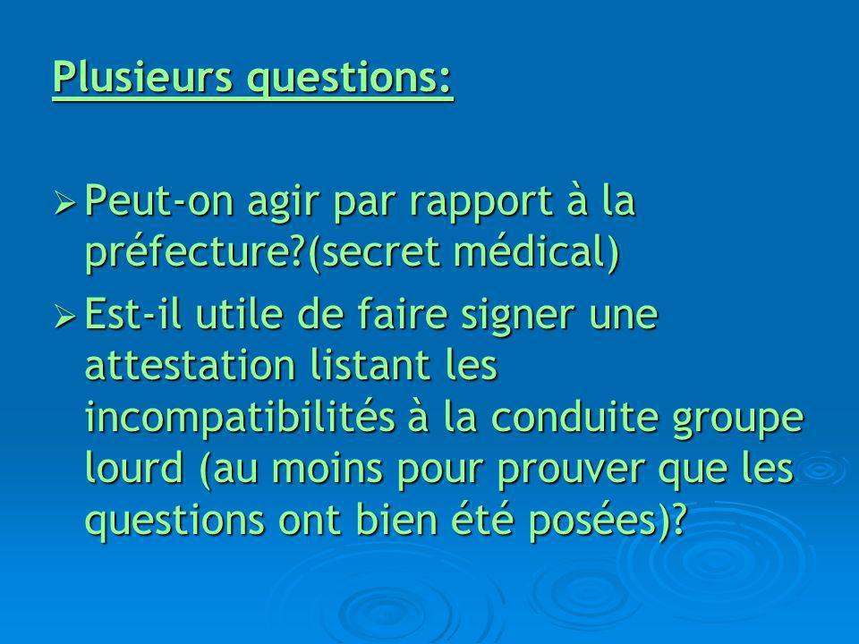 Plusieurs questions: Peut-on agir par rapport à la préfecture (secret médical)