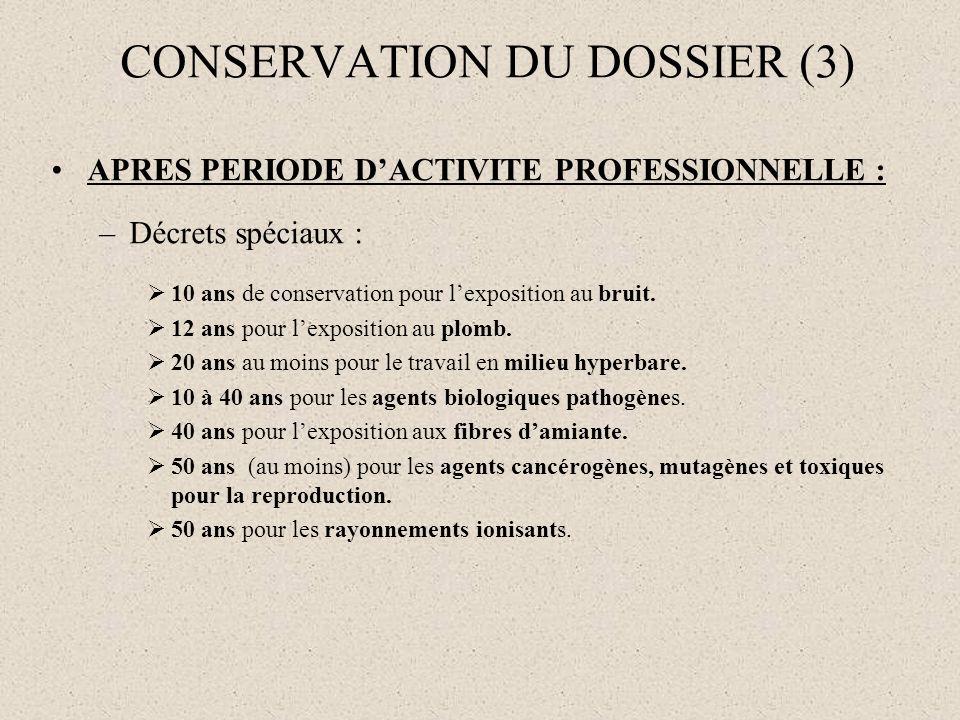 CONSERVATION DU DOSSIER (3)
