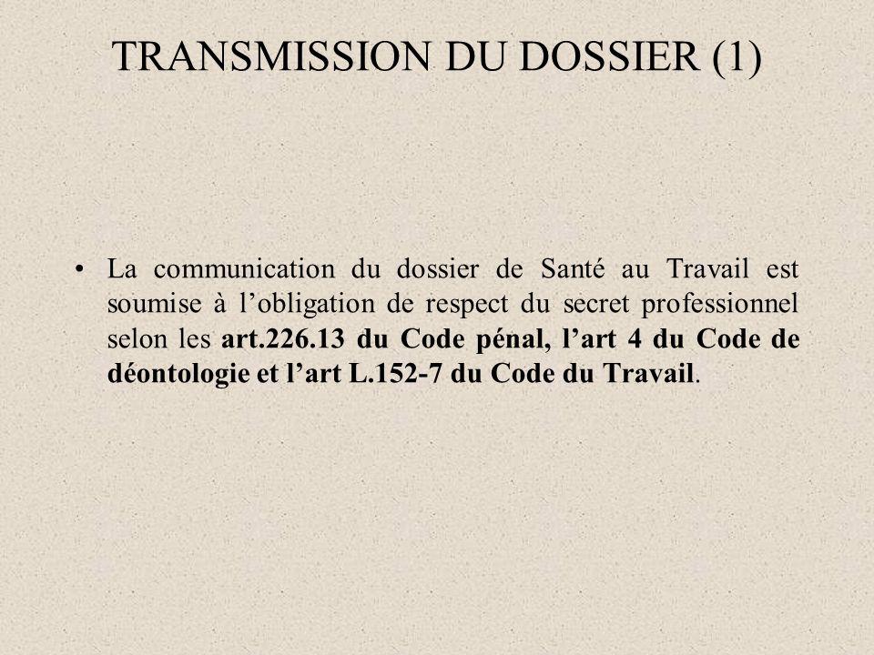 TRANSMISSION DU DOSSIER (1)