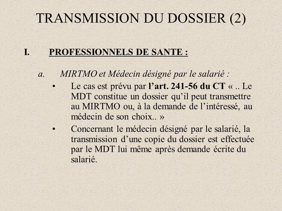 TRANSMISSION DU DOSSIER (2)