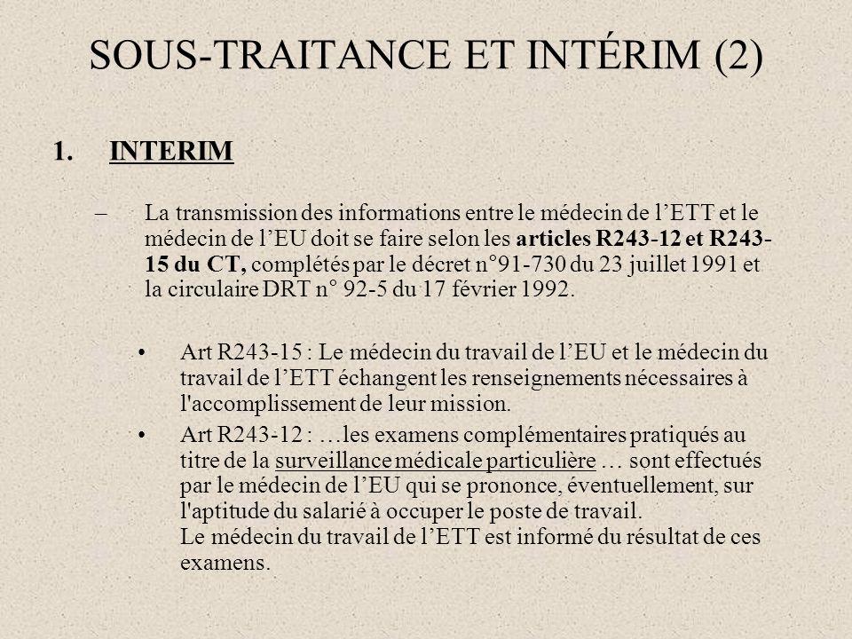 SOUS-TRAITANCE ET INTÉRIM (2)