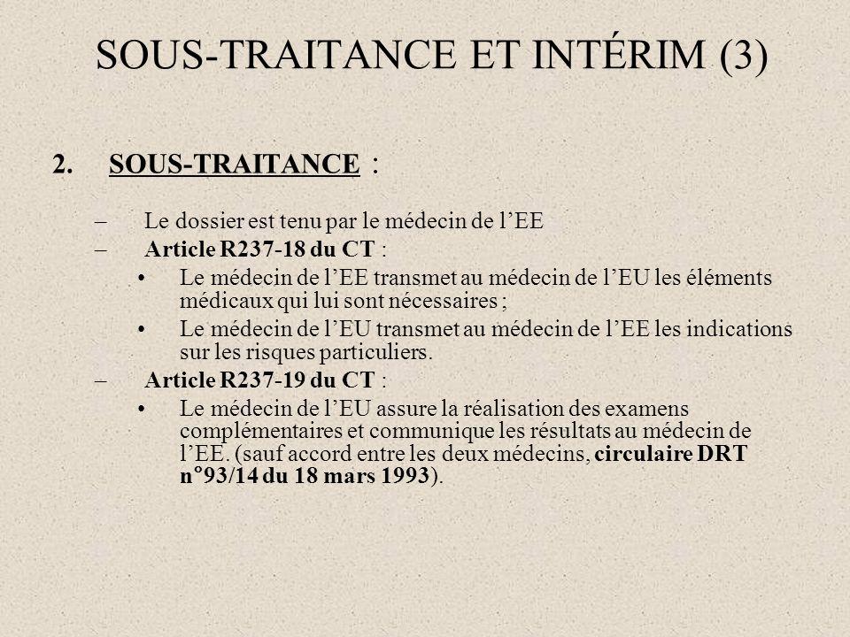 SOUS-TRAITANCE ET INTÉRIM (3)