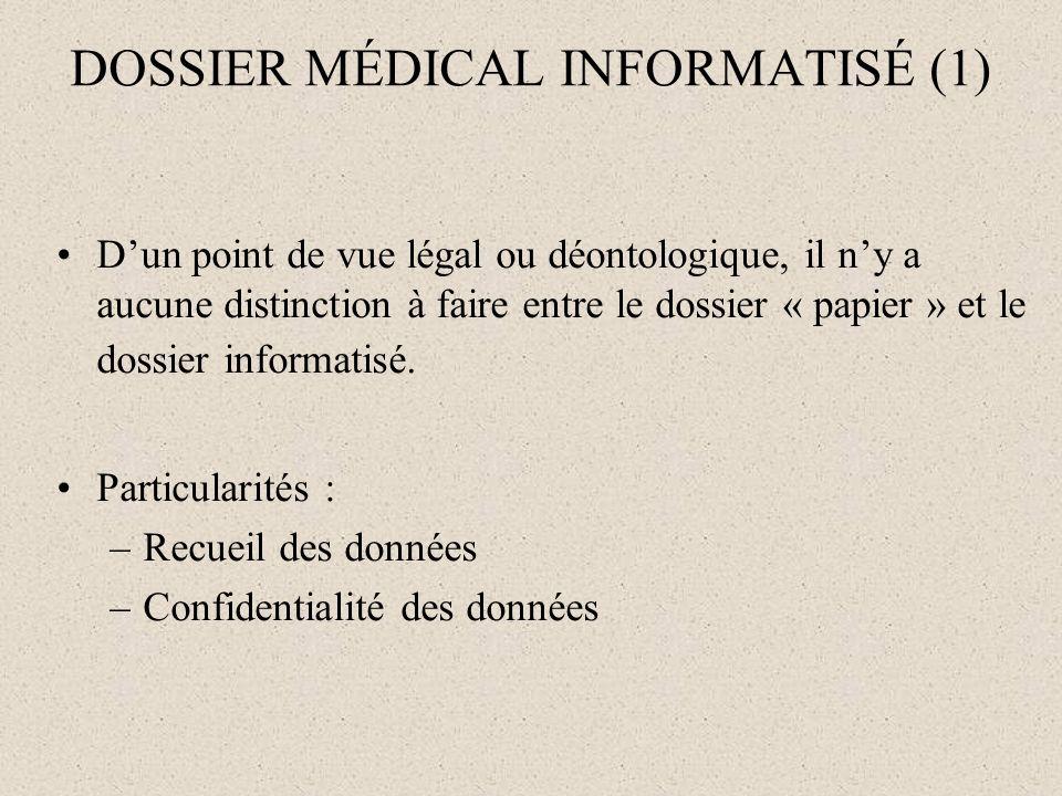 DOSSIER MÉDICAL INFORMATISÉ (1)