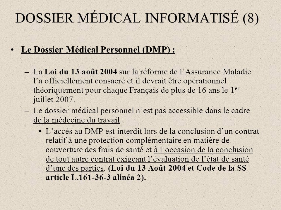 DOSSIER MÉDICAL INFORMATISÉ (8)