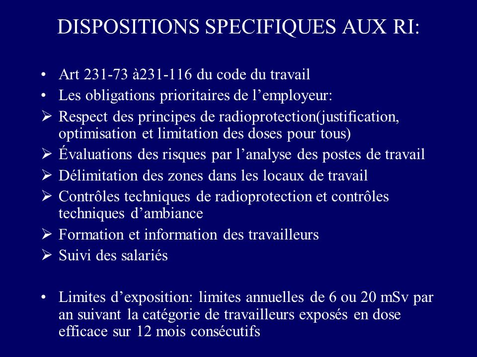 DISPOSITIONS SPECIFIQUES AUX RI:
