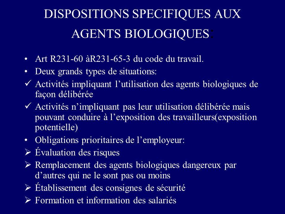 DISPOSITIONS SPECIFIQUES AUX AGENTS BIOLOGIQUES: