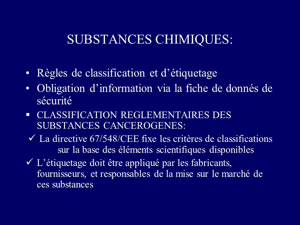 SUBSTANCES CHIMIQUES: