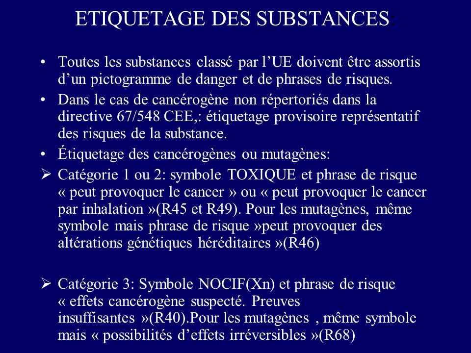 ETIQUETAGE DES SUBSTANCES:
