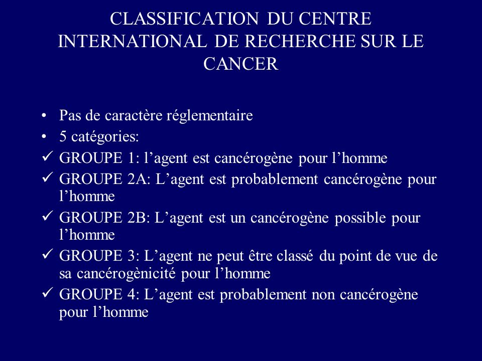 CLASSIFICATION DU CENTRE INTERNATIONAL DE RECHERCHE SUR LE CANCER